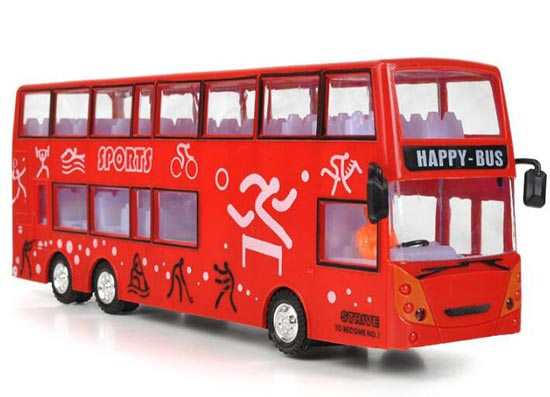 Happy Bus Theme Red Kids Plastic Double Decker Bus Toy