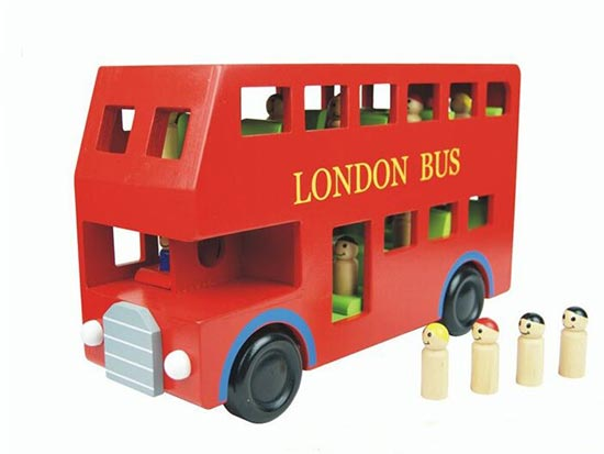 Red Wooden Double Decker London Bus with Passengers Inside