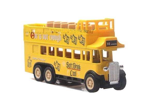 Pull Back Alloy and Plastic Yellow Double Decker Tour Bus Model