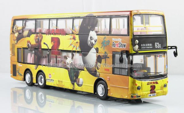 1:76 Scale Yellow Kung Fu Panda Theme Double Decker City Bus