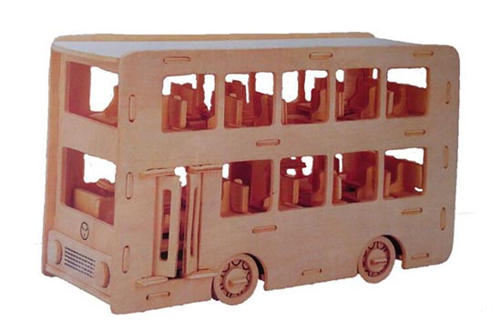 Educational White Wooden Assembled Double Decker Bus Toy
