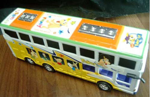 Kids Yellow-White Plastic Cartoon Double Decker Bus Toy
