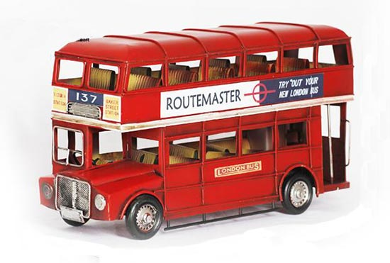 1:12 scale red 1905 year Double Decker London Bus Model