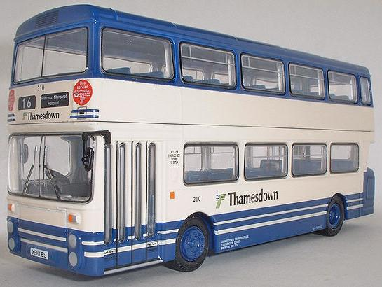 1:76 Scale Blue-White Alloy Made Kids Double Decker Bus Model