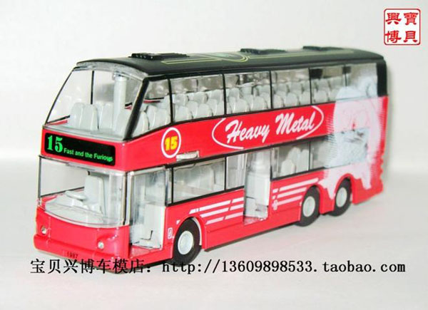 Pull-Back Function Kids Red Alloy NO.15 Double Decker Bus