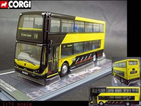 Kids 1:76 Scale Yellow-Black Double Decker Bus Toy