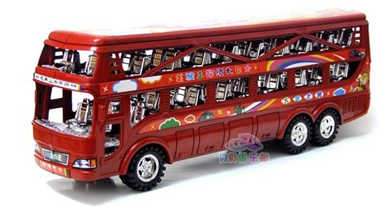 Kids Red / Blue Plastic Made Double Decker Bus Toy