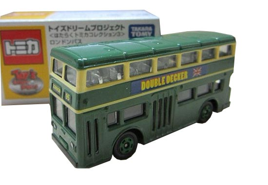 1:130 Mini Scale Green TOMY TOMICA London Double-decker Toy Bus