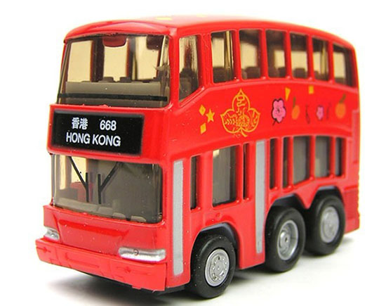 Mini Scale Cool Red Kids Hong Kong Double-Decker City Bus Toy