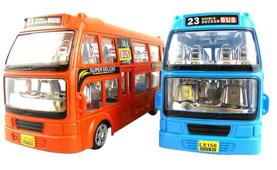 Large Scale Blue Kids Plastics Electric Double Decker Bus Toy