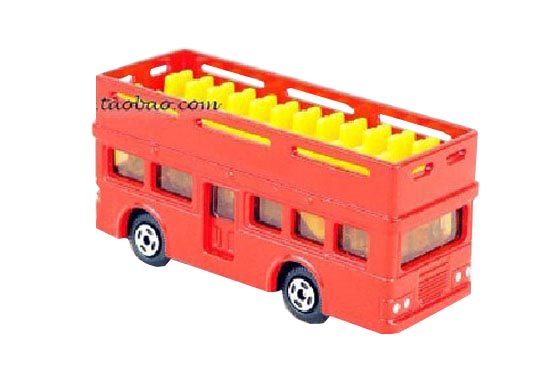 Mini Scale Red Cabrio Kids Double Decker Tour Bus Toy