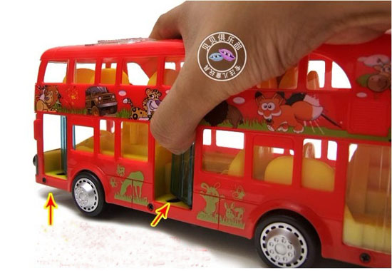 Large Scale Cartoon Figures Red Kids Electric Double Decker Bus