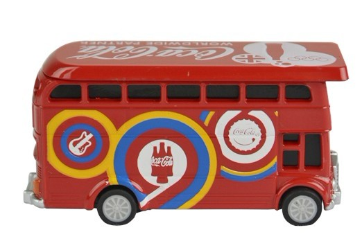 1:87 Mini Scale Red Coca Cola Olympic Double Decker Bus Toy