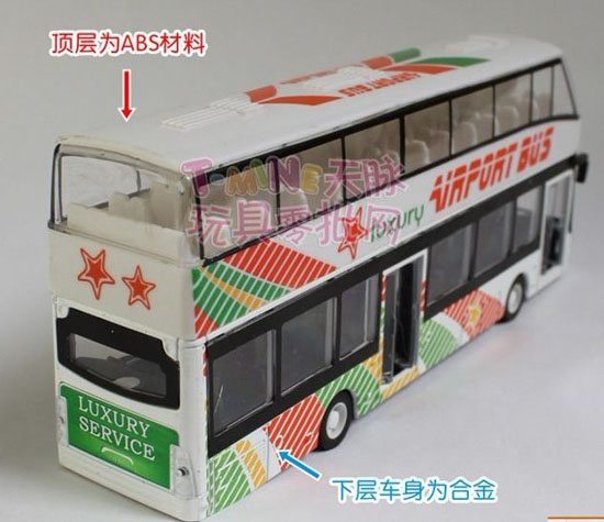 1:32 Scale Kids White Airport Theme Double Decker Bus Toy