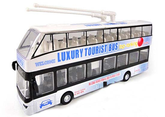 1:32 Scale Kids White Die-cast Double Decker Trolley Bus Toy
