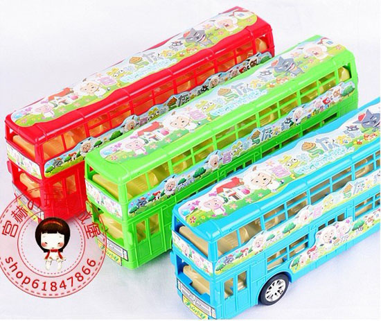 Kids Large Scale Red / Blue / Green Xiyangyang Double Decker Bus