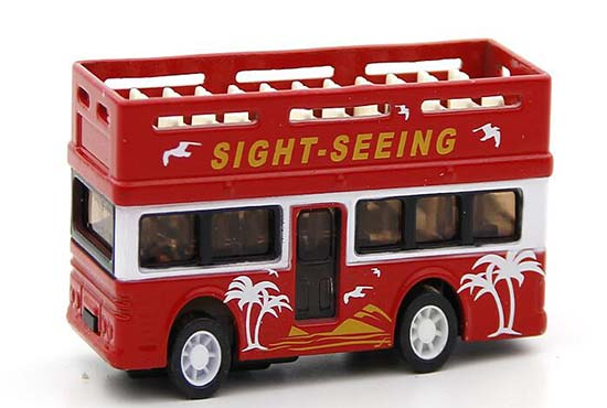 Mini Scale Red Sight Seeing Cabrio Double Decker Tour Bus Toy