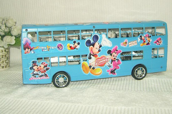 Large Blue / Pink Cartoon Mickey Mouse Double Decker Bus Toy