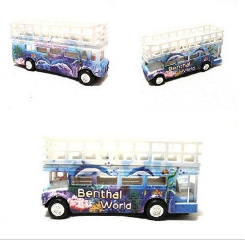 Medium Size Kids Red / Green / Blue Double Deck Tour Bus Toy