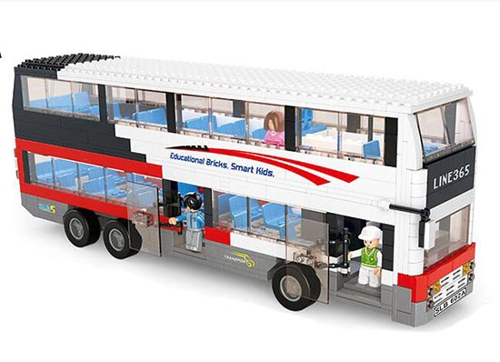 741 Pieces White ABS Plastics Educational Building Block Bus Toy