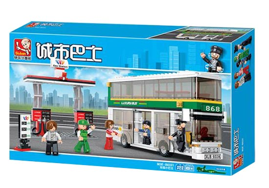 403 Pieces White-Green Kids Educational Building Blocks Bus Toy