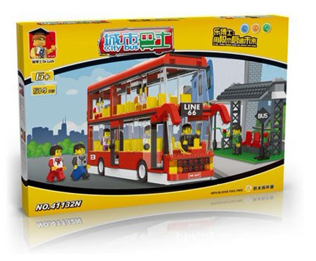 514 Pieces Red Kids Building Blocks Double Decker Bus Toy