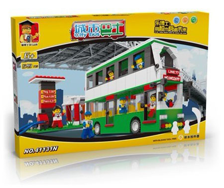 549 Pieces Kids White-green Building Block Double Decker Bus Toy