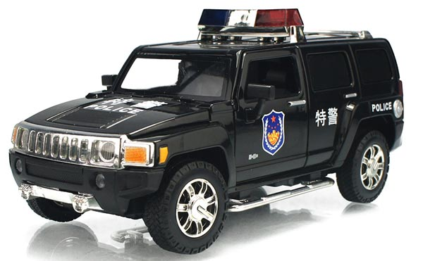 Kids 1:24 Scale White / Black Police Diecast Hummer H3 Toy