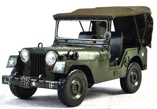 Medium Size Army Green Vintage Tinplate 1942 Army Jeep Model
