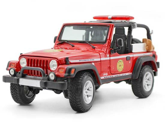 1:18 Red / Yellow Maisto Die-Cast Jeep Wrangler Rubicon Model