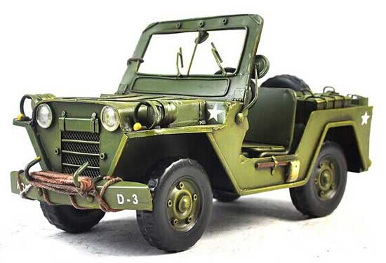 Army Green Large Size Vintage Tinplate Army Jeep Model