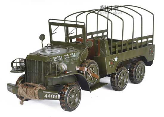 Army Green Vintage Large Size Tinplate Army Jeep Truck Model