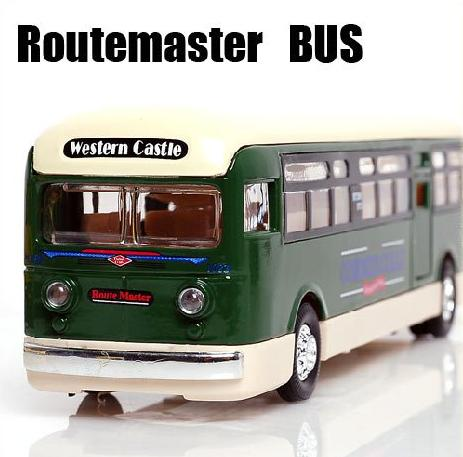 1:55 Scale Yellow / Green / Orange Route Master London Bus Model