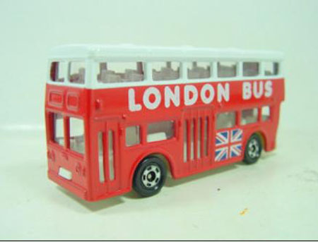 1:130 Scale TOMY Red-white London Double Decker Bus Model