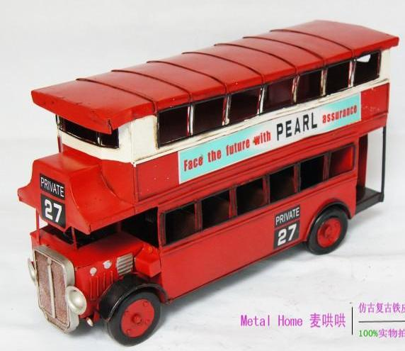 Medium Scale Red Tinplate Made NO.27 London Double Decker Bus