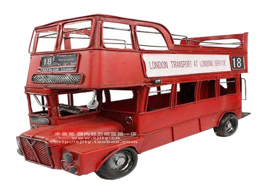 1:12 Scale Cabrio Style Red London Double Decker Bus Model