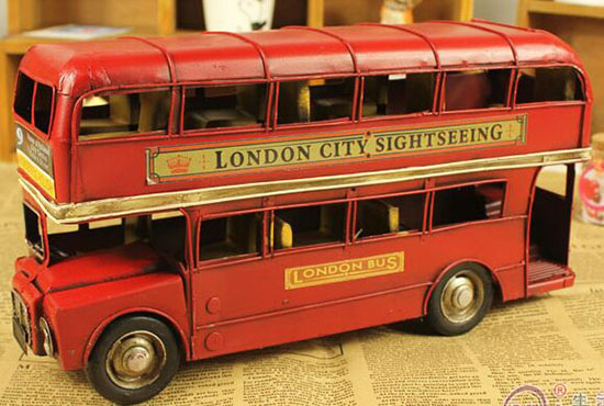 1:50 Scale Red Tinplate Made London Double Decker Bus Model