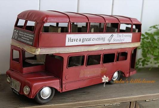 NO.76 Red Tinplate Retro Style London Double Decker Bus Model