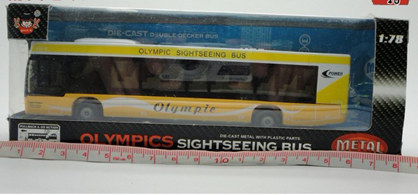 1:32 Scale Kids Yellow London Olympic Sightseeing Bus Toy