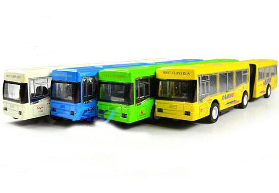 1:50 Scale White / Yellow Kids Die-cast Articulated City Bus Toy