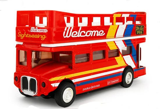 1:50 Scale Red-White Kids Diecast London Tour Bus Toy