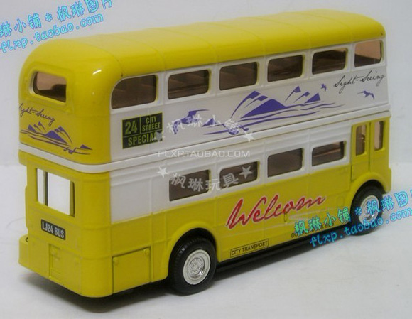 1:50 Scale Yellow Kids Diecast London Bus Toy