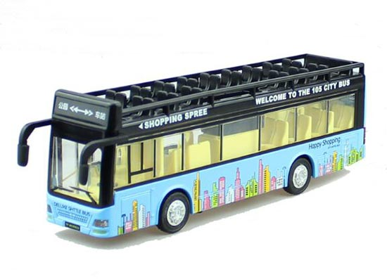 Yellow / White / Red / Blue Kids Die-Cast Double Decker Bus Toy