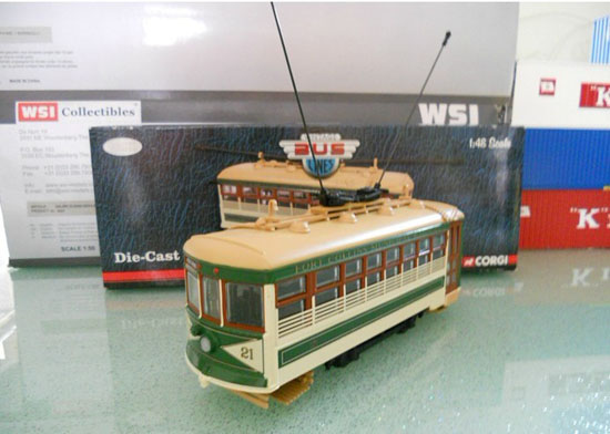 1:48 Scale White-green CORGI Old-fashioned Trolley Bus Model