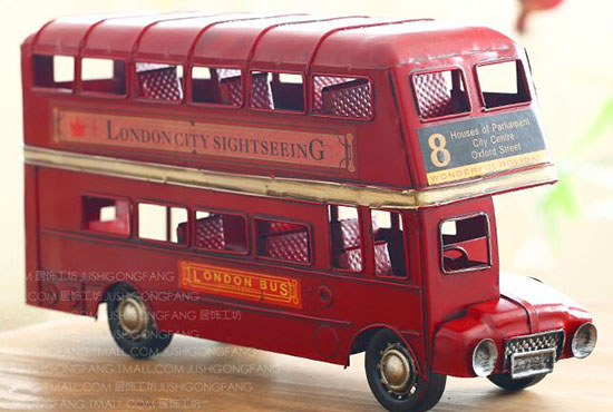Large Scale Tinplate NO.8 Red London Double Decker Bus Model