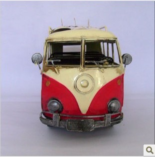 Large Scale Red-white Retro VW Bus Model with Sliding Plate