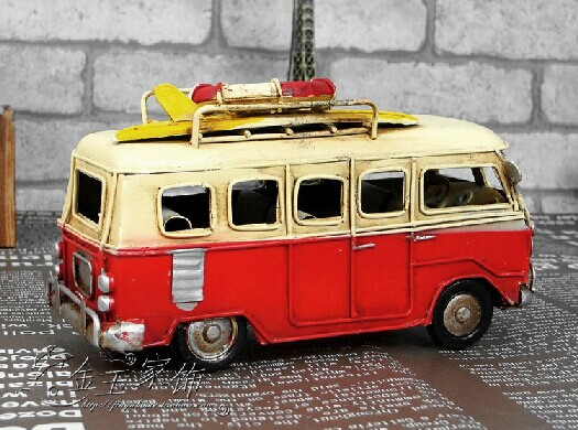 Medium Scale Red-White Vintage Style Bus Model