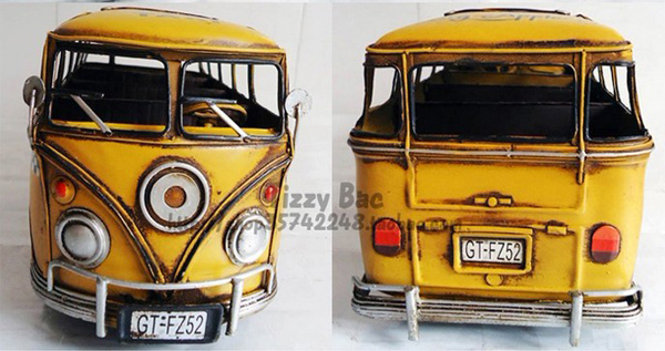 Large Scale Yellow Tinplate 1963 New York VW Bus Model