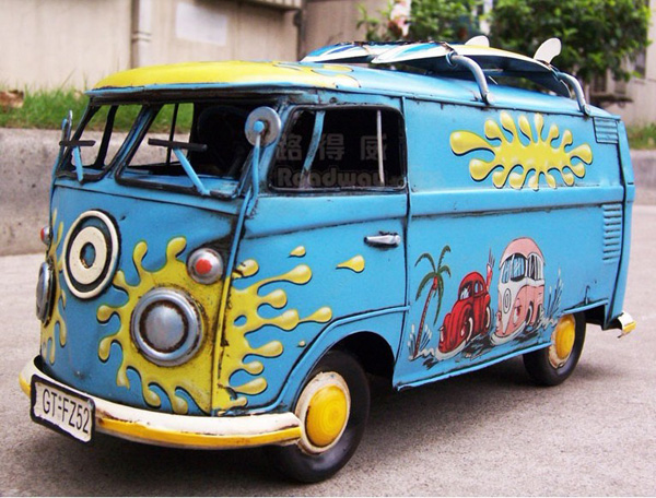 Pure Handmade Large Scale Hippie Blue 1967 Luxury Bus Model