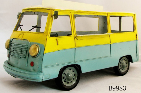 Pure Handmade Large Scale Blue-Yellow Bus Model